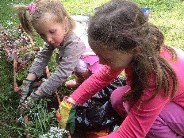 mes filles aux plantations des jardinières et potager.