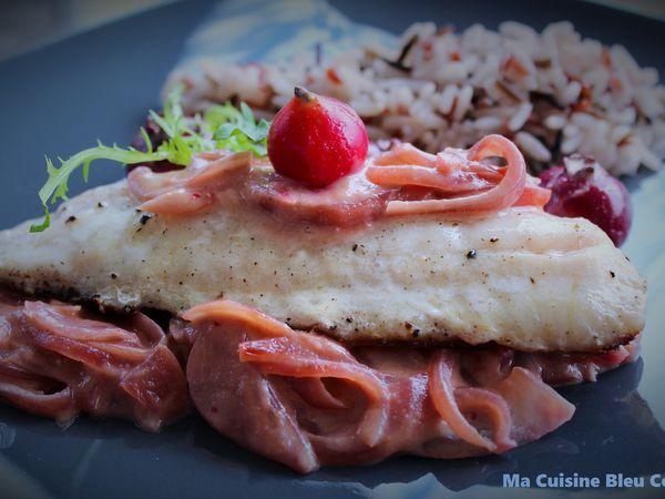 Filets de Vivaneau, Oignons Confits Crémeux aux Goyaviers (ou framboises)