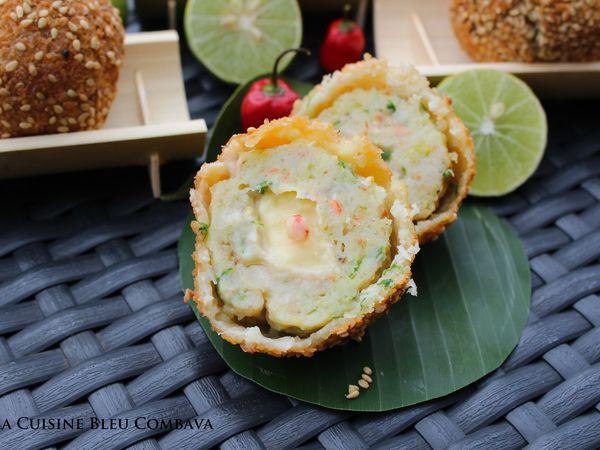 Cromesquis de Crevettes coeur coulant au Lime Curd pimenté