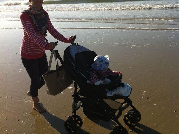 La triocity à la mer ! Sur sable mouillé, ça roule parfaitement bien!