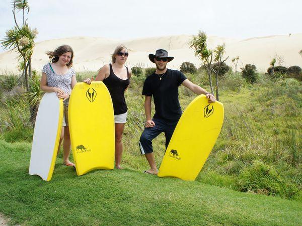 Nous sommes prêt à gravir la dune de Te Paki!!!!