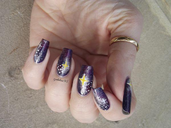 Galaxy Violet Nail Art