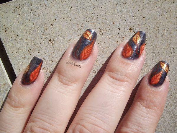 Nail art feuilles printanières OPI