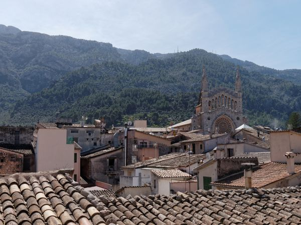 De la Plaça à la Creu par le Bar Molino. Deux vues sur un verger d'orangers et la cave cooperative Sant Bartumeu