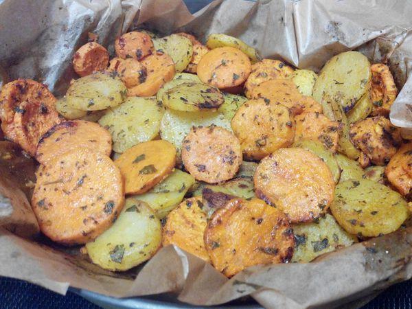Duo de patates douces et pommes de terre aux épices