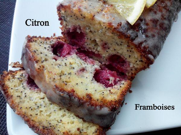 Cake au citron, framboises et graines de pavot