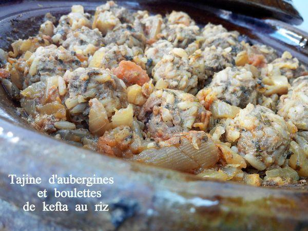 Tajine d'aubergines et boulettes de kefta au riz