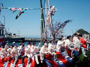 Japon : Le Festival &quot&#x3B;Ose Matsuri&quot&#x3B;, Festival des pêcheurs sur le port Uchiura, Numazu City, Shizuoka