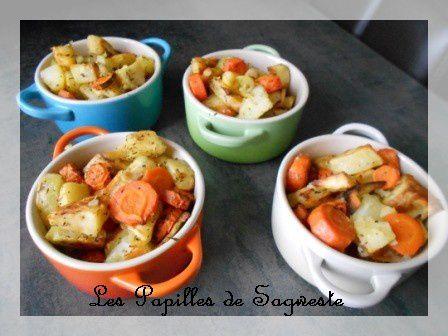 Légumes rôtis panais carottes pomme de terre en cocotte