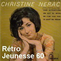 christine nerac, une chanteuse française des années 1960 sélectionnée à la rose d'antibes promotion 1964