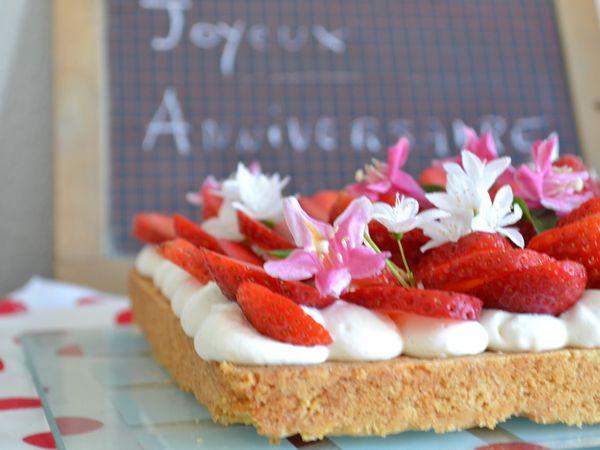 Tarte sablée aux fraises #tarte d'anniversaire