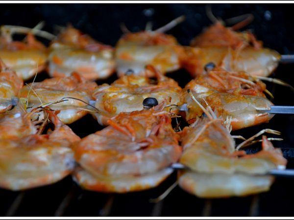 Brochettes Gambas sauce Peri-Peri BBQ