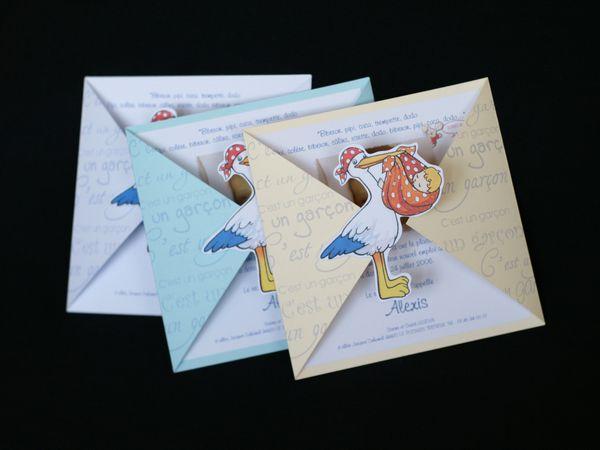 Faire-part &quot&#x3B;La cigogne livre un paquet&quot&#x3B;