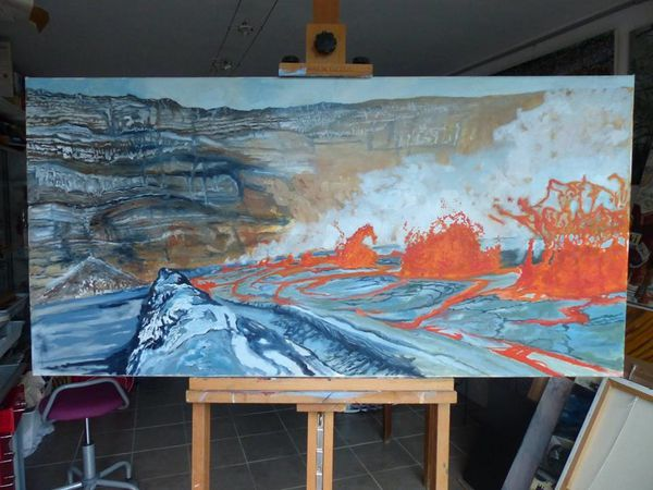 """Stages of the realization of """"Journey to the Center of the Earth"""" - oil on canvas from Jocelyn Lardy - Photo © J.Lardy"""