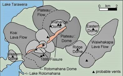 The volcanic center Okataina and Tarawera eruption fissure of 1886 - a click to enlarge - Doc. http://users.skynet.be/etna/NZ/Tarawera.htm
