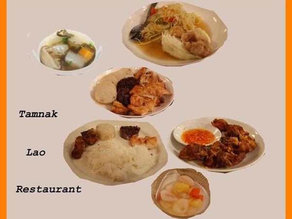 Soupe, salade de papaye épicée, poulet, riz gluant, riz blanc, poisson frit, salade de fruits gelée de coco.