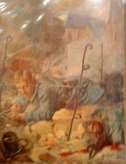 """Photos de portable : """"Soldats de 1915 : le coupeur de fil de fer&#x3B; le petit moment de répit&#x3B; le lanceur de grenades.""""  Les personnalités lors de l'inauguration."""