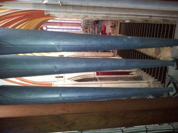 La nef de la cathédrale depuis l'intérieur du buffet de l'orgue (DR : Stéphane Godet)