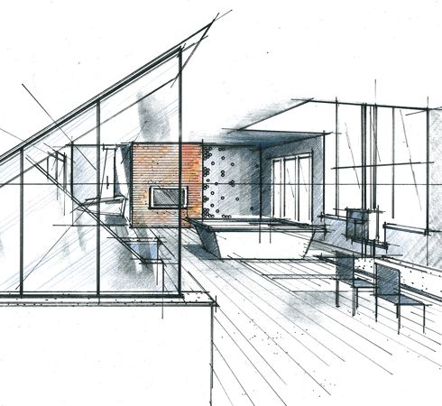 Perspectives croquis et mati res le blog de philippe for Architecture dessin interieur
