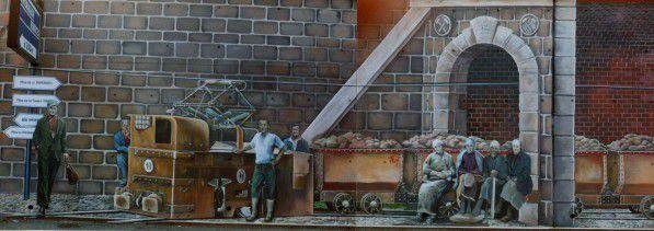 Inauguration de la fresque des 4 mines de Greg GAWRA en 1989 à Algrange