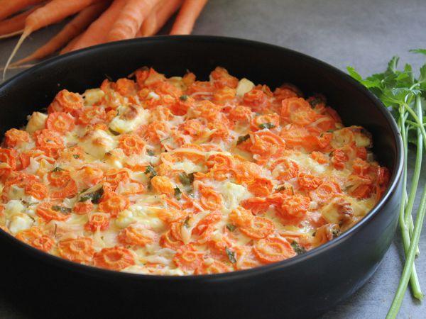 Paschtida aux carottes ou clafoutis aux carottes et à la fêta sans gluten
