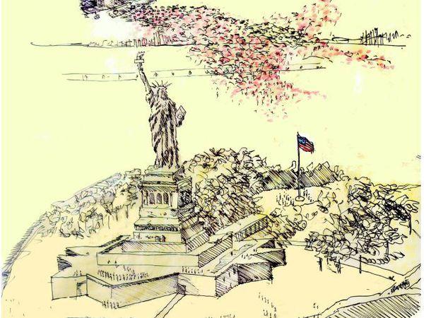 1 million de pétales de roses, le 6 juin, sur la Statue de la Liberté et la Frégate La Fayette