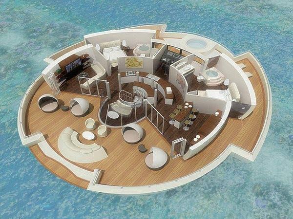 Maldives - Solar Floating Island, un hôtel de luxe flottant tel un yacht, autonome en énergie