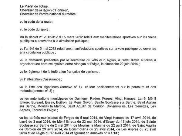 Arrêté course cycliste Alençon L'Aigle
