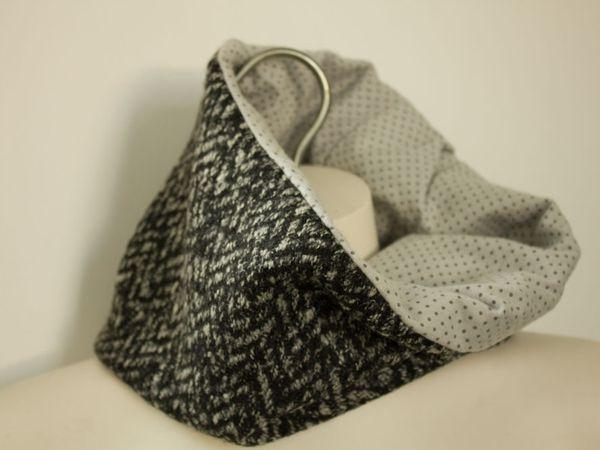 Col femme hiver en lainage et coton gris et noir