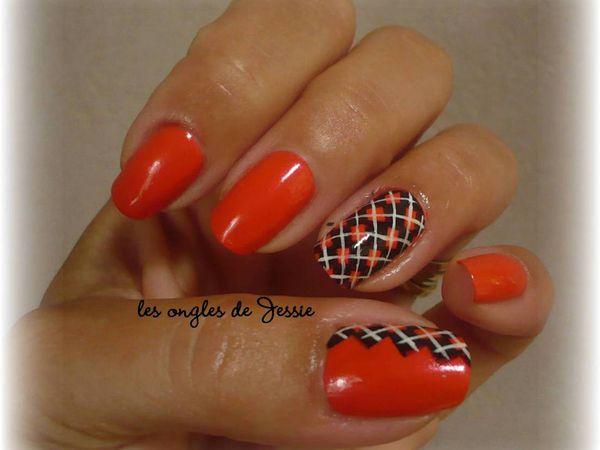 manucure orange et nailart losanges noirs les ongles de jessie. Black Bedroom Furniture Sets. Home Design Ideas