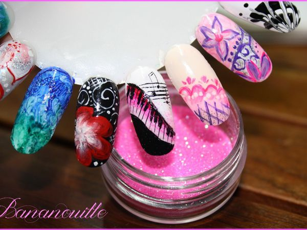 "Nail Art ""notes de piano"" et ""papillon bucolique"""