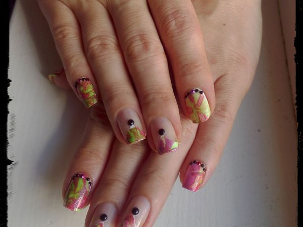 Nail Art Water Marbel Holo Flashi.....