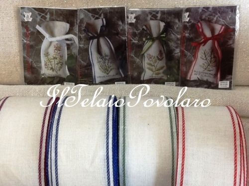 ....  Cornicette DMC - kit per mini sacchetti di erbe aromatiche ... e-o bordi il lino da 7 cm. per replicarli a piacere