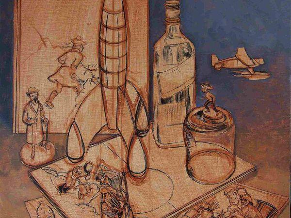 Nature morte Hergé et Tintin. Installation, dessin préparatoire et mise en place sur la toile. Mai 2016