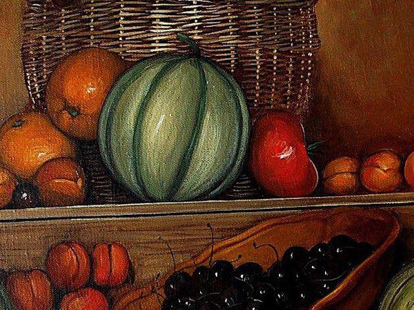 Grande nature morte de fruits Détails Huile -Toile  89x146 Bhavsar