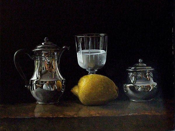 Citron, verre de lait, oeuf, argenterie   Huile sur bois ou toile   Environ 33X41   Bhavsar
