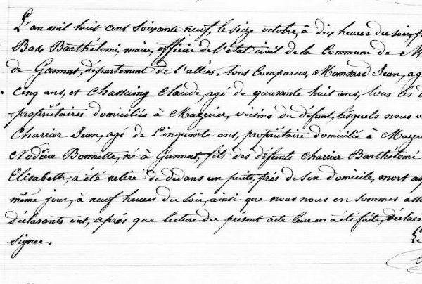 Actes de décès dressés le 16 octobre 1869