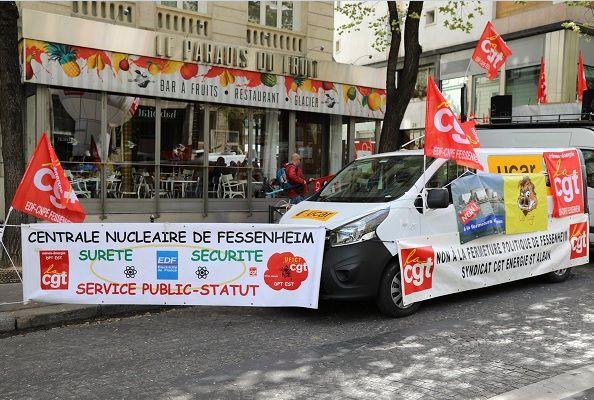 Manifestation des salariés d'EDF contre la fermeture de Fessenheim ( photos :Jonathan RT France )