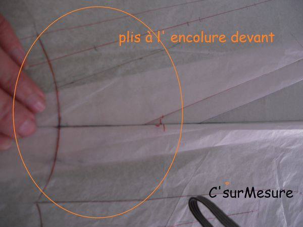 pliage : des plis sur l'encolure devant : pli 1 pli 2 et un pli recouvrant ces deux premiers plis !