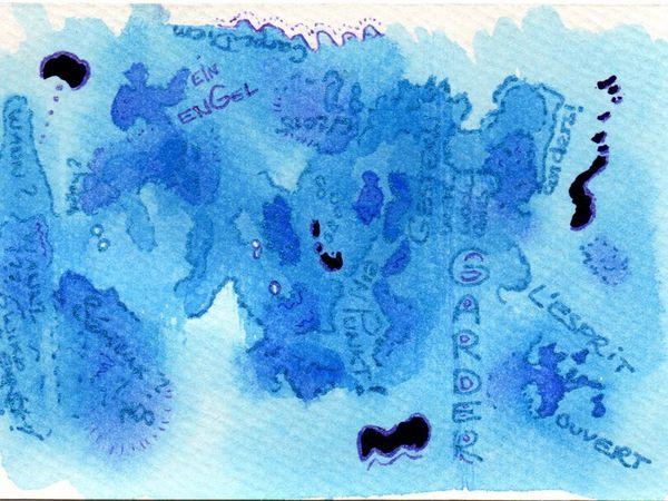 Aquarelle, marqueurs et vernis à ongles, ensuite: encre Pébeo - avant et après (peut-être un peu trop chargé...)