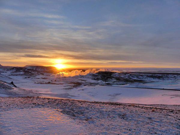 Mývatn Retour : le soleil qui se couche, l'heure qui avance, la conduite de nuit qui s'annonce !