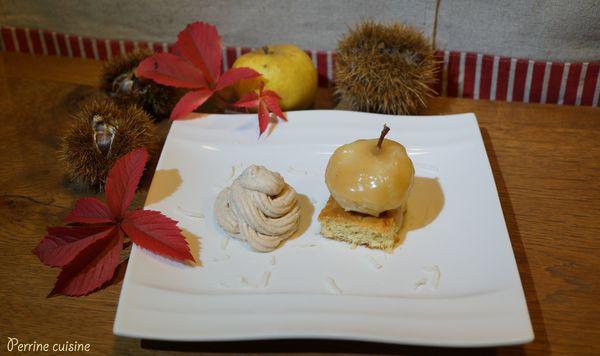 Petite pomme au caramel beurre salé sur sablé coco, émulsion à la châtaigne