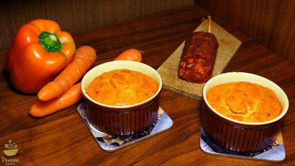Flan à la carotte, au poivron et au chorizo