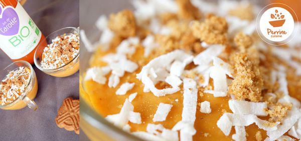 Petite crème à la carotte, lait de coco et spéculoos (une recette bio)