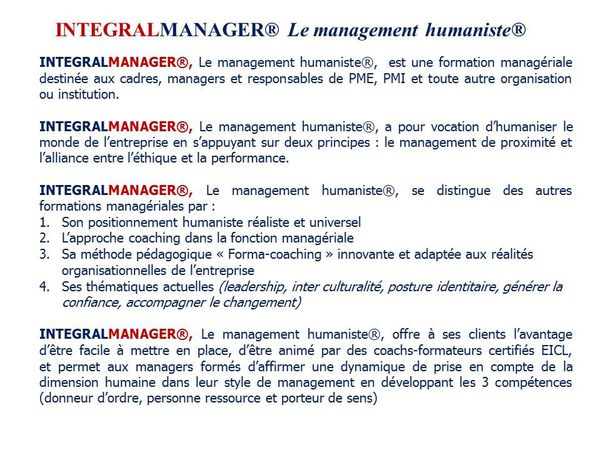 Formation &quot&#x3B;Integral Manager&quot&#x3B;