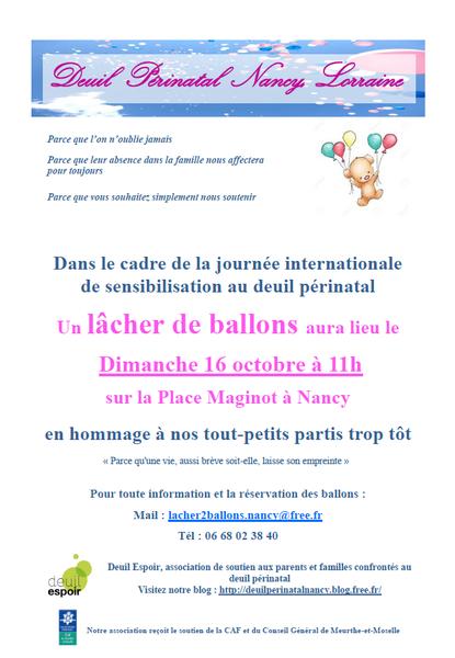 Nancy Lâcher de ballons de Deuil espoir le 16 octobre 2016