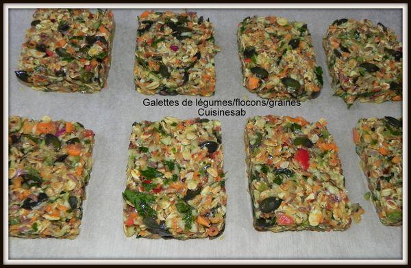 Galettes de légumes/flocons/graines