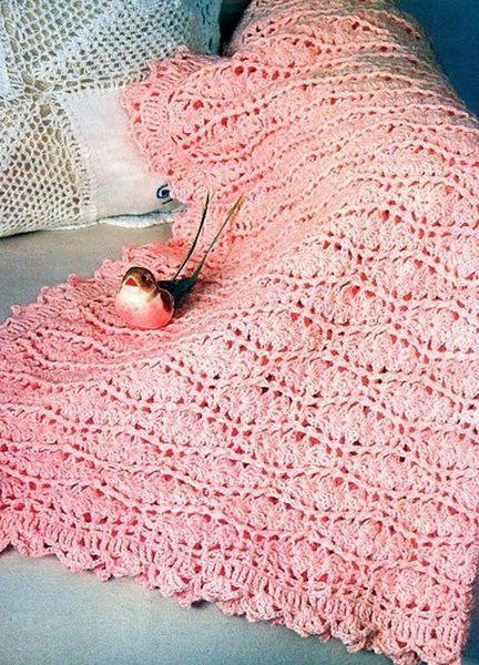 Couverture rose pour bébé et sa grille gratuite !