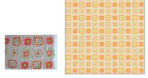 Couverture aux carrés colorés et ses grilles gratuites !