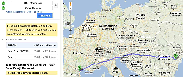 Google Maps - How far do we live from our penpals in Galați, Romania?